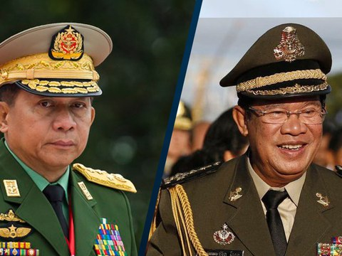 (ឆ្វេង) លោក មីន អ៊ូង ហ្លាំង (Min Aung Hlaing) មេដឹកនាំយោធារបស់ប្រទេសភូមា ឬម៉ាយ៉ាន់ម៉ា និងលោកនាយករដ្ឋមន្ត្រី ហ៊ុន សែន។